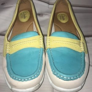 Shoes - Clark's leather loafers yellow/blue size 9